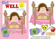 FEELING POORLY LITTLE GIRL IN BED WITH SMILEY FACE on Craftsuprint - Add To Basket!