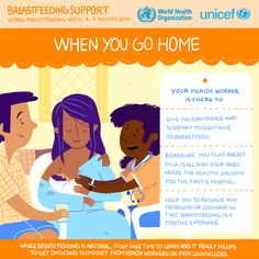 When you go home, your health worker is there to: -Give you confidence and support to continue to breastfeed -reassure you that your breast milk is all that your baby needs for healthy growth for the first 6 months. -Help you to resolve any problems or concerns so that breastfeeding is a positive experience.  #WBW2014 #Breastfeeding