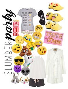 """""""SLUMBER PARTY WITH EMOJIS"""" by sharkyswimgirl ❤ liked on Polyvore featuring Topshop, Perpetual Shade, Boohoo, UGG Australia, Eberjey, Skin, Throwboy, Iscream and slumberparty"""