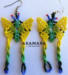 Mexican Huichol Beaded Yellow and Green Butterfly by Aramara