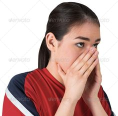 Nervous football fan looking ahead on white background ...  anticipation, cup, cut out, energy, event, excited, fan, female, football, isolated, jersey, mixed-race, nerves, nervous, red, soccer, spectator, sport, supporter, wearing, woman, world, young adult