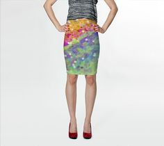 Women's Art Fitted Skirt Color Blast 2 photography Summer Fashion Pencil Skirt pink purple blue green yellow neon white geometric art shapes