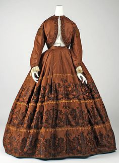 1860-1865 American Copper silk Zouave outfit; skirt, jacket, white blouse.  This is gorgeous and richly trimmed!
