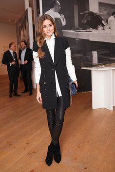 Olivia Palermo at the Notes on Creativity opening with Dom Pérignon. olivia palermo in a vest. women's fashion and style. Estilo Olivia Palermo, Olivia Palermo Outfit, Olivia Palermo Style, Fashion Night, Work Fashion, Style Fashion, Black And White Outfit, Black Boots, Black White