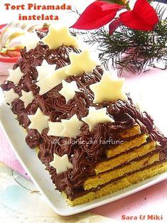 tort-piramada-instelata4 Good Food, Yummy Food, Something Sweet, Waffles, Gem, Food And Drink, Xmas, Christmas, Ice Cream