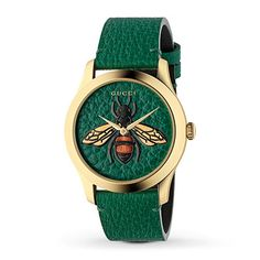 Gucci G-Timeless collection ladies green leather strap with yellow gold PVD stainless steel casing and pin and buckle fastening. Round green dial with bee detailing. Swiss made quartz movement and sapphire crystal glass. Complete with Gucci presentation Gucci Jewelry, Leather Jewelry, Jewelry Watches, Silver Jewelry, Accessories Jewellery, Cartier Jewelry, Dainty Jewelry, Silver Ring, Handmade Jewelry