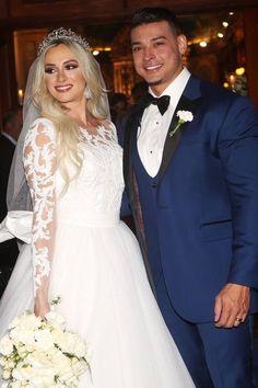 Gorgeous Juju Salimeni on her wedding day. Check out this beautiful night-time wedding inspiration.   mysweetengagement.com