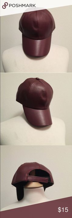 Faux Leather Burgundy hat Burgundy hat ANGL Accessories Hats