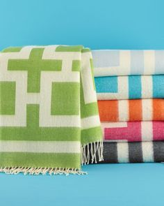 """Nixon"" Throws by Jonathan Adler...perfect Summer colors!"