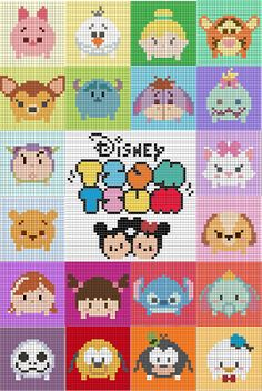 Over in the Two Hearts Crochet CALs group someone has asked about tsum tsum graphs. Being a massive Disney fan and avid tsum collector … - Over in the Two Hearts Crochet CALs group someone has asked about tsum tsum . Perler Bead Disney, Perler Bead Art, Perler Beads, Fuse Beads, C2c Crochet Blanket, Tapestry Crochet, Crochet Baby, Hama Beads Patterns, Beading Patterns