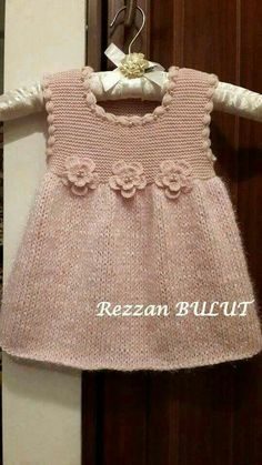 """diy_crafts- """"Knit dress - simple, sweet, lovely ~~ Garter bodice, stockinett skirt, finished with crochet puff stitch edging and 3 crochet flow Knitting Baby Girl, Knitting For Kids, Baby Knitting Patterns, Baby Patterns, Crochet Baby, Knit Crochet, Knitted Baby, Baby Knits, Girls Knitted Dress"""