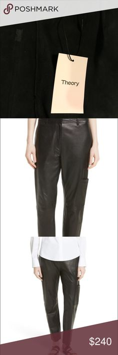 THEORY Thorelle L Noble Crop Leather Pants, NWT THEORY size 4 , in color black. Ankle-length hems balance the higher-cut rise of relaxed, straight-leg pants tailored from soft, lustrous lambskin leather. The leather is so supple, so soft, and you know it's super high quality when it's smells like leather. These pants are so luxurious, and practical; they have pockets! Pants give a slimming effect and I'd never part with them if they fit me. The type of garment that you'll wear, and will wear…