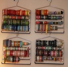 Ribbon storage on pant hangers- I use curtain rods but this may just have to be the answer to the extra hangers I have laying around with the extra ribbon I have laying around!!