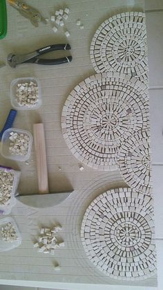 """Detail, Inspiration by circles and slate river. Mosaic art by Ursula Huber, Marble mosaic combined with natural slate. Love the contrast it's very heavy 24"""" x"""