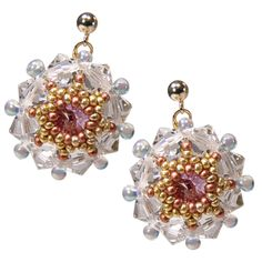 Für die #Braut: Romantische  #Ohrringe aus vielen kleinen #Rocailles Perlen und SWAROVSKI Elements von #Perlotte Schmuck