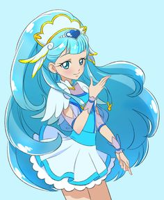 1girl blue blue_background blue_eyes blue_hair character_request closed_mouth cnove cowboy_shot earrings head_wings hugtto!_precure jewelry long_hair looking_at_viewer magical_girl precure simple_background skirt smile solo spoilers white_skirt wrist_cuffs