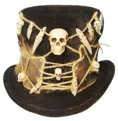 Witch Doctor Dapper Voodoo Gothic Victorian Steampunk Unisex Traveler Gypsy Explorer Top Hat A one of a kind wearable art creation by Jenkitty Voodoo Party, Voodoo Halloween, Halloween Hats, Halloween Themes, Halloween Decorations, Voodoo Priestess Costume, Voodoo Costume, Voodoo Dolls, Doll Costume