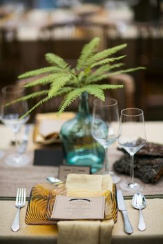Ferns make a great alternative to flowers, Weddings in Woodinville 2013 - click for lots of great ideas for a rustic wedding