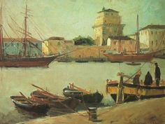 Old dock  -  Lorenzo Viani , 1960  Italian 1882-1936   Oil ,   50 × 60 cm.  Catalog Show 8-23 February 1986 - Palazzo Paolina Viareggio
