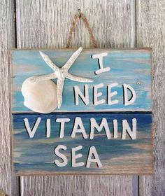 Ocean Pallet Art – Wooden Vitamin Sea Sign, Seaside Decor, Upcycled Beach Art, Coastal Sea Wall Art, Nautical Home Decor - Fisch Krafts Ideen Seaside Decor, Beach House Decor, Coastal Decor, Ocean Home Decor, Coastal Interior, Seashell Crafts, Beach Crafts, Diy And Crafts, Beach Themed Crafts