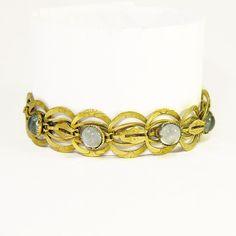 SALE Antique Edwardian Bracelet Antique Bracelet Brass Filigree Bracelet with Etched Links and Moonstone Glass