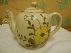 Floral Teapot- Made In Japan-Cream Colored Teapot- Floral Decor- Vintage Teapot