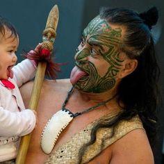 Maori man and child, New Zealand