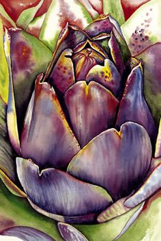 Watercolor Artichoke / by Colleen Nash Becht Watercolor Fruit, Watercolor And Ink, Watercolor Flowers, Watercolor Painting Techniques, Watercolor Paintings, Watercolours, Vegetable Painting, Art Plastique, Botanical Art