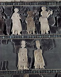 MARI INTARSIA 5TH-2ND MILL.BCE Procession of priests and women decorating a bench with bulls legs. Frieze with mother of pearl inlays, schist and ivory Early dynastic period II, Ur I (2645-2460 BCE) from Mari, Syria National Museum, Damascus, Syria