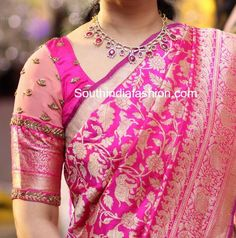 8 Stunning Blouse Patterns for Banarasi Silk Sarees – South India Fashion maggam embroidered blouse designs for banarasi sarees Wedding Saree Blouse Designs, Pattu Saree Blouse Designs, Blouse Designs Silk, Designer Blouse Patterns, Blouse For Silk Saree, Pattern Blouses For Sarees, Saree Blouse Patterns, Saree Dress, Blue Blouse