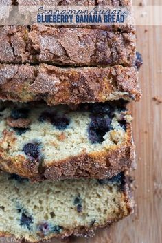 This Cinnamon Sugar Blueberry Banana Bread is a twist on my Mom's Banana Bread. It's filled with blueberries and topped with cinnamon sugar!