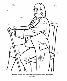 Ben Franklin coloring page - after you read his biography!