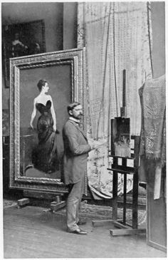 Painter John Singer Sargent in his studio in Paris, with the painting Madame X. Sargent faces his painting The Breakfast Table, 1884, in progress. Smithsonian Institution.