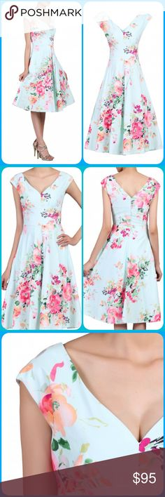London🇬🇧Vintage Floral Sweetheart Dress So elegant and spring inspired 50's vintage midi floral sweetheart neckline.   Size is 10 UK / 6 US.   Designed in London by Jolie Moi. The collection is cut to flatter the figure with an elegantly tailored fit.  97% Polyester, 3% Elastane. Machine washable.   I will help you with any questions to ensure you find the perfect fit. Feel free to ask questions! Jolie Moi Dresses Midi