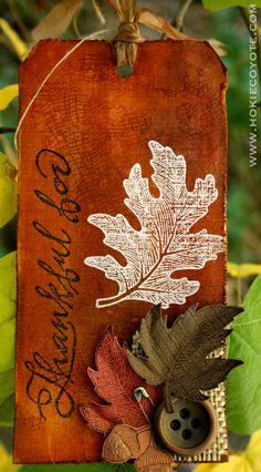 Tim Holtz - 12 Tags of 2012 (November) Card Tags, Door Tags, Handmade Gift Tags, Paper Crafts, Diy Crafts, Thanksgiving Cards, Scrapbooking, Vintage Tags, Fall Cards