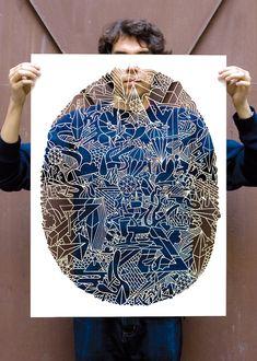 http://www.facebook.com/abrasiv.abrasiv by KLUB7® ARTCOLLECTIVE: Berlin-based. Mind boggling paper cut.