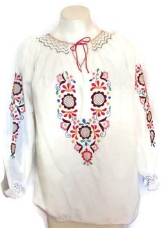 Vintage 1960s 70s Peasant Blouse Folk Top by ExpatriateVintage