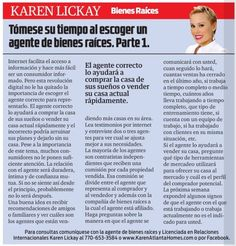 Amigos, los invito a leer mi columna en el distinguido periódico La Visión. Esta semana y la próxima estaremos hablando acerca de cómo escoger al mejor agente de bienes raíces. Disfruten!  My friends, I invite you to read my column in the distinguished La Visión newspaper. This week and next one we'll be talking about how to choose the best real estate agent. Enjoy!