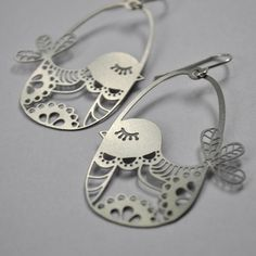 Honeybee | Birdies | Stainless steel earrings with sterling silver hooks
