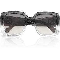 c1d932e6da2 Gucci Square Frame Glitter Sunglasses ( 265) ❤ liked on Polyvore featuring  accessories