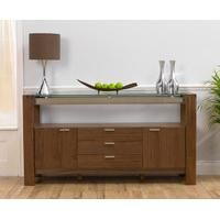 Canberra 160cm Walnut and Glass Sideboard