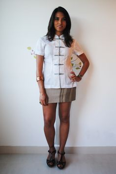Casual outfit in Asia style for summer with Tribal Vertical Gray Cotton Mini Skirt ....Further on Etsy