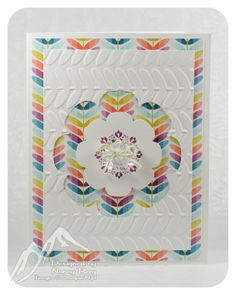 light and beautiful handmade card ... Floral Frames used both to make a negative space and also a positive  shape ... luv it! ... really like the multi-colored paper behind the top layer ... colored shapes echoed in the texture of the embossing folder   Stampin' Up!