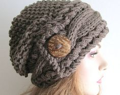 Slouchy Beanie Cabled Slouch Hats Wood Button Braided sideways