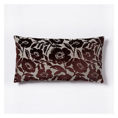 "West Elm Jacquard Velvet Flower Heads Pillow Cover, 14""x26"", Burgundy (34 CAD) ❤ liked on Polyvore featuring home, home decor, throw pillows, burgundy throw pillows, jacquard throw pillows, west elm, floral throw pillows and velvet accent pillows"