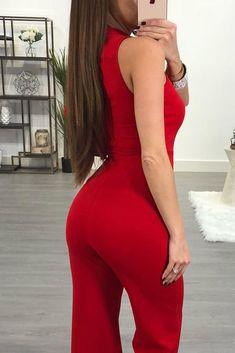 Red Asymmetric Ruffle Detail Sleeveless Jumpsuit