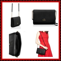 """Kate Spade Charlotte Street Alek Crossbody NWT black crossbody. Leather with capital Kate jacquard lining and 14 karat light gold plated hardware. Has a snap closure and interior side pocket and zipper pocket. 6.5"""" h x 9.9""""w x 1.6"""" d. No trades or low ball offers. kate spade Bags Crossbody Bags"""