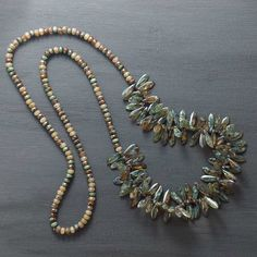 Beaded Rustic Necklace with Green Brown Pattern Czech Glass Beads - product images  of