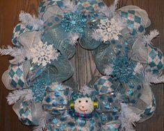 Blue white winter and Christmas snowman snowflake deco mesh wreath