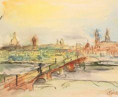 Dresdenpanorama mit Augustusbrück - Aquarell #art #Dresden #aquarell